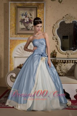 Beaded Light Blue Quinceanera Gown with Hand Made Flower