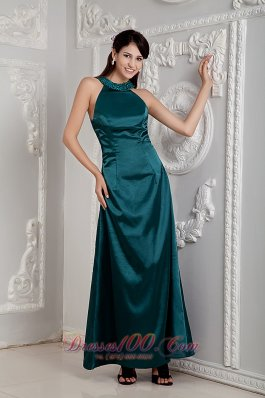 Scoop Ankle-length Beads Taffeta Mother Of The Bride Dress
