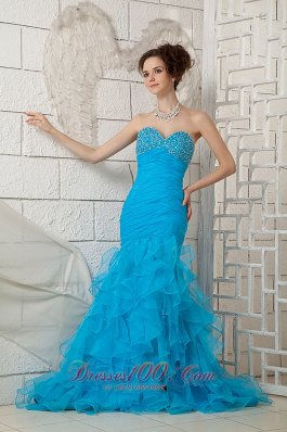Mermaid Sky Blue Prom Gown 2013 Organza Brush Beaded
