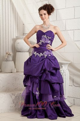 Brush Pick-ups Purple Prom Dress Layered Applique
