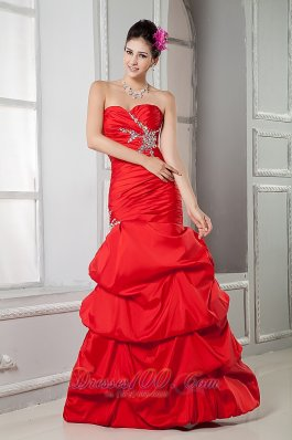 Red Taffeta Mermaid Beading Prom Gown Ruched Pick-up