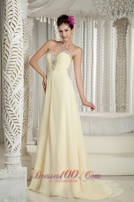 Beaded Sweetheart Prom Holiday Dress with Brush Yellow Style