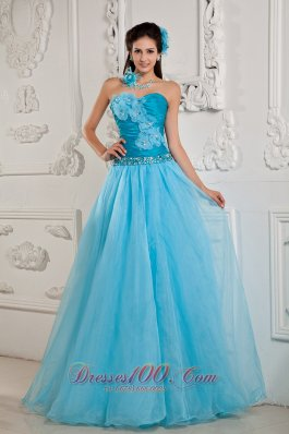 Handmade Flower Teal Ruched Prom Dress 2014 for women
