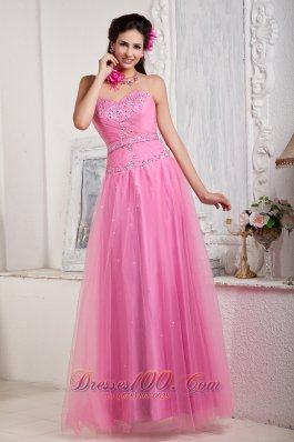 Tulle Empire Rose Pink Sweetheart Prom Dress Beads