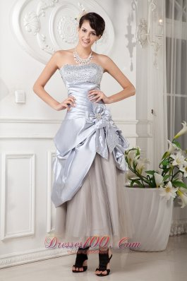 Bowknot Beaded Lilac Ankle Length Prom Gown