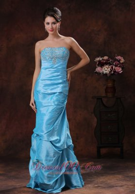 Mermaid Aqua Blue Taffeta Prom Dress Beadings