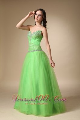 Taffeta and Tulle Spring Green Prom Holiday Dress Beaded