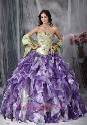 Green and Purple Ruffles Sweetheart Dress for Quince