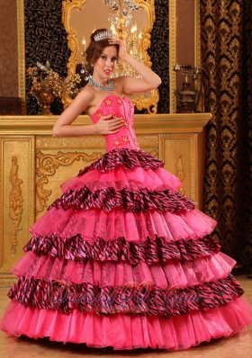 Layer Hot Pink and Zebra Sweet 16 Dress Strapless
