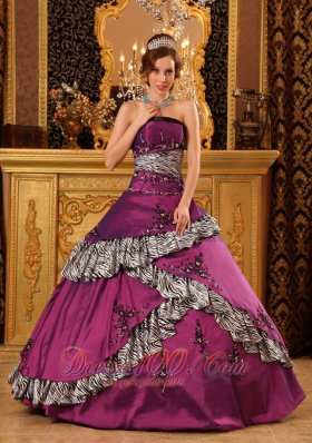 Purple and Zebra Ball Gown Quinceanera Dress