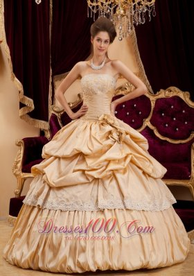 Champagne Quinceanera Dress Strapless Hand Made Flower