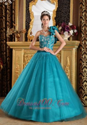 Teal One Shoulder Beading Dress for Quinceanera