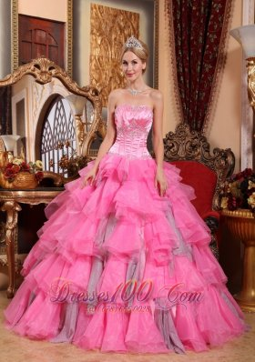 Rose Pink Quinceanera Dress Sweetheart Layered