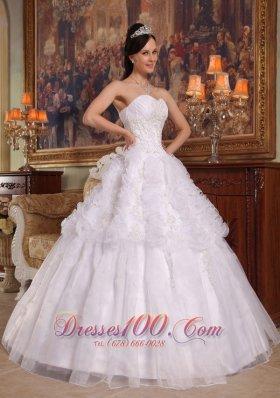 GWhite A-line/Princess Sweetheart Quinceanera Dress