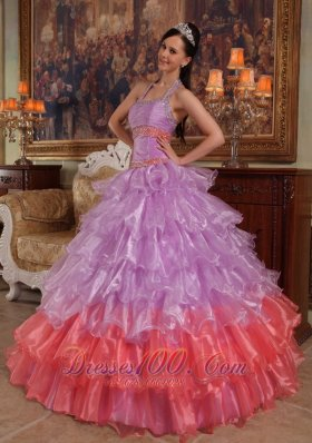 Lavender Quinceanera Dress Halter Organza for Summer