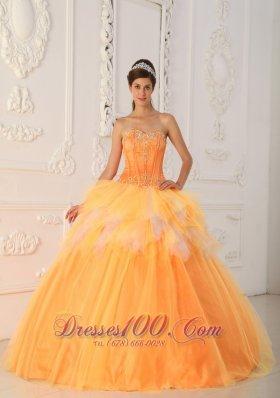 Orange Sweetheart Beading Sweet 16 Dress Spring
