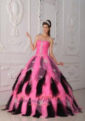 Pink and Balck Beading Princess Sweet 15 Dress