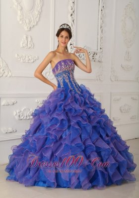 Pretty Royal Blue and Purple Quinceanera Dress Applique