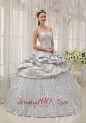 Silver Sweetheart Pick-ups Quinceanera Dress Ruch
