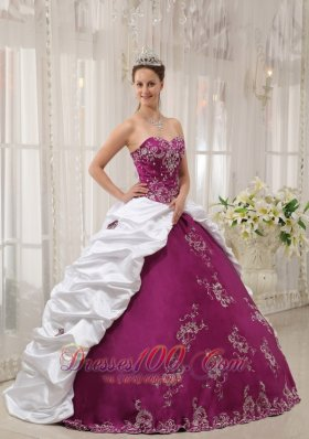 Sweetheart Purple and White Embroidery Pick-ups