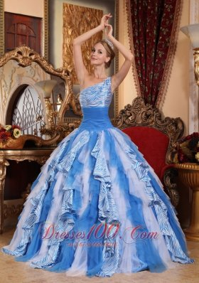 One Shoulder Multi-color Quinceanera Dress Ball Gown