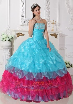 Popular Aqua Blue and Hot Pink Layer Sweet 15 Dress