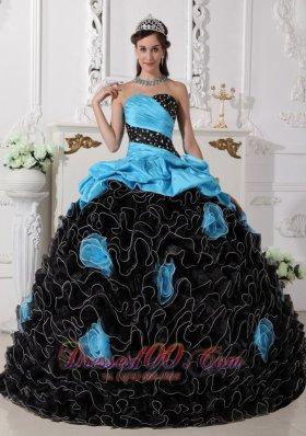 Black and Aqua Blue Quinceanera Dress Pick-ups Sweetheart
