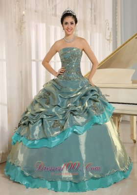 Multi-color Embroidery Decorate Strapless Quinceanera Dress