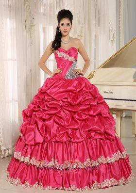 Hot Pink Pick-ups Appliques Ball Gown Quinceanera Dress
