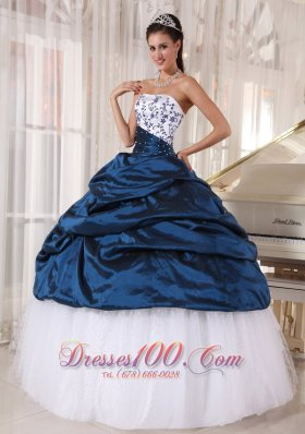 Sweetheart Navy Blue and White Embroidery Quinceanera Dress