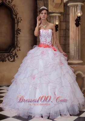 White and Orange Strapless Sash Ball Gown for Quince