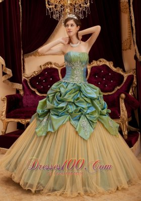 Olive Green Quinceanera Dress Pick-ups Tulle
