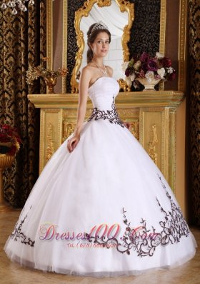 White Quinceanera Gown Embroidery A-line