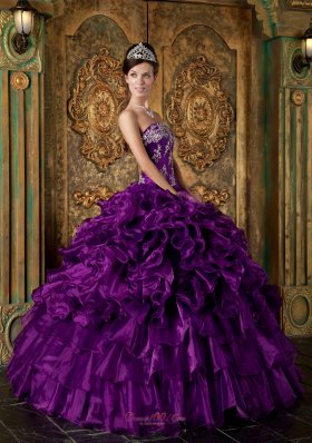 Eggplant purple Multi-tierd Quince Dress For Cheap