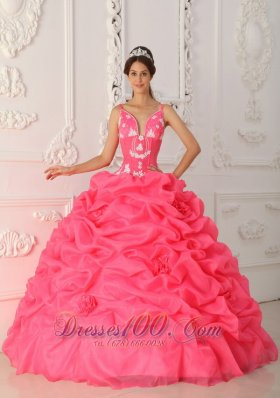 Red Sweet 15 Dress with Straps Embroidery Pick-ups 2013