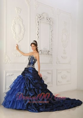 Royal Blue Quinceanera Dress Chapel Appliques