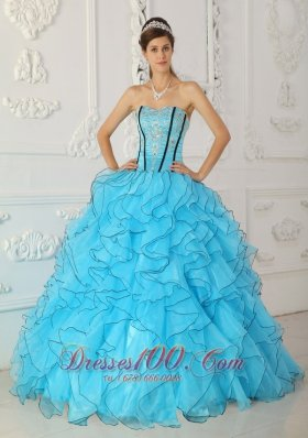Strapless Boning and Ruffles Baby Blue Quinceanera Dress Ball Gown