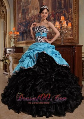Colorful Quinceanera Dress Pick-ups Zebra Sashed