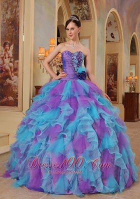 Sweetheart Purple and Aqua Quinceanera Dress Bowknot