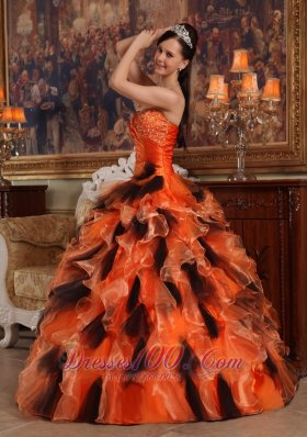 Sweetheart Orange and Black Quinceanera Dress Multi-tiered