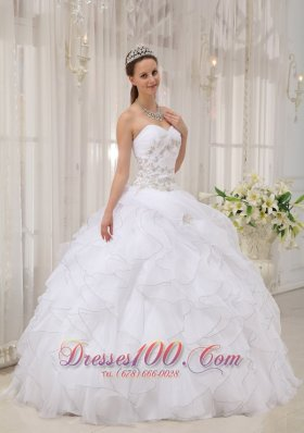 White Beading Ruffles Sweet 15 Dress For Quince