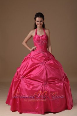 Halter Coral Red Sweet 16 Dress Pick-ups