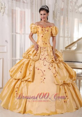 Off the Shoulder Gold Quinceanera Dress Embroidery Layer