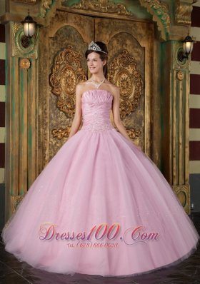 Sweet 15 Dress A-line Pink Ball Gown Strapless