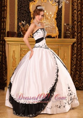 Ball Gown Strapless Floor-length Embroidery Quinceanera