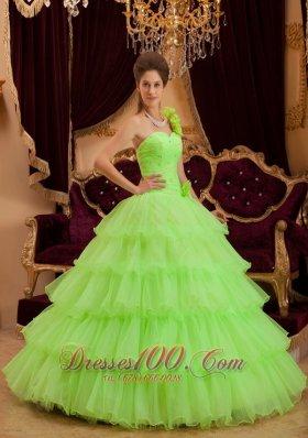 Layer Spring Green Sweet 16 Dress One Shoulder Handmade Flower