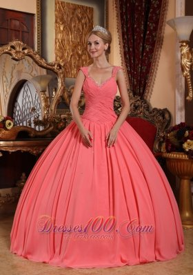 Watermelon Sweet 16 Dress V-neck Chiffon Straps
