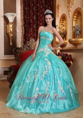Green Quinceanera Dress Strapless Ball Gown Embroidery