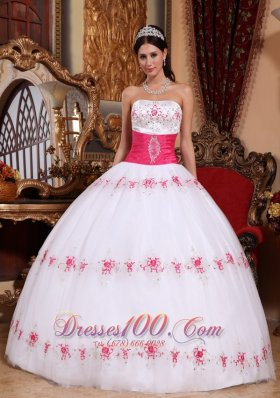 Strapless White and Hot Pink Appliques Sash Beading