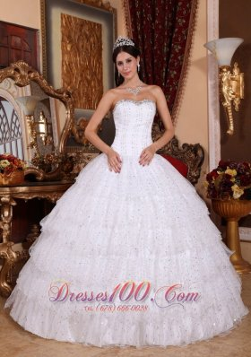 Layered Sweetheart Sweet 15 Dress White Floor-length